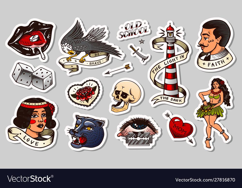 Old school tattoo stickers set hawaiian hula