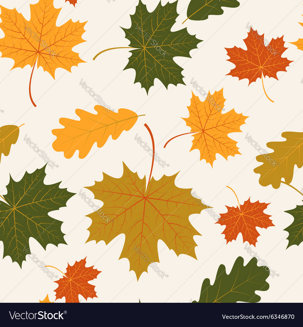 Seamless with autumn maple and oak leaves