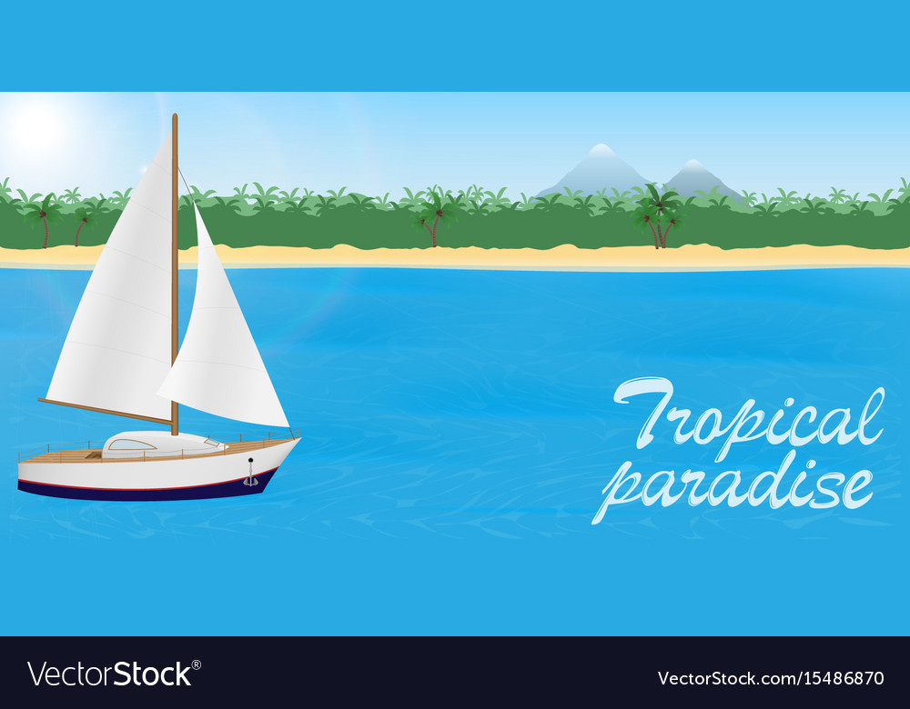Summer travel to tropical paradise banner or