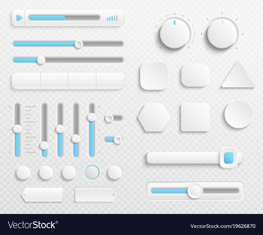 White web buttons and ui sliders set