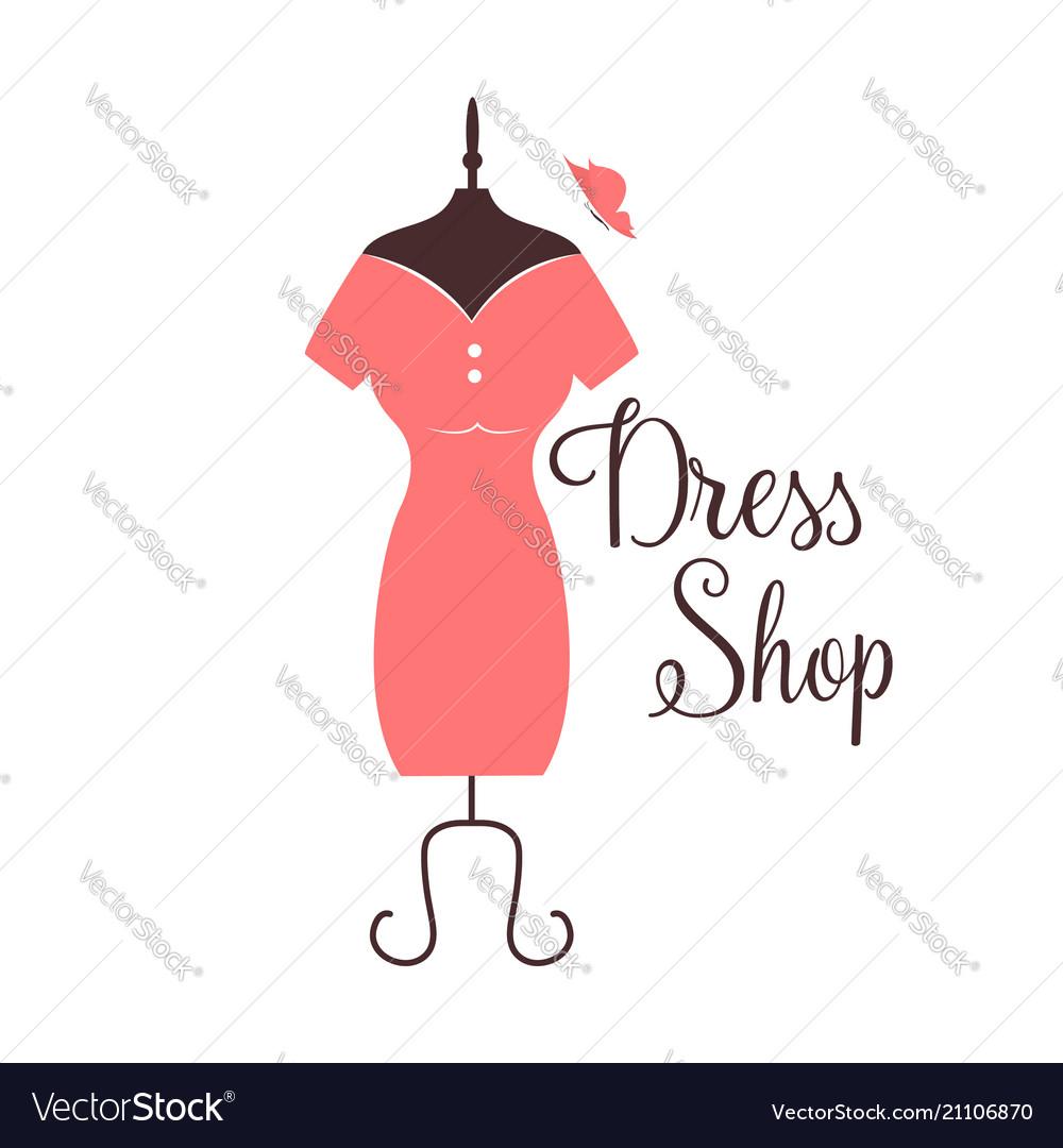 Women fashion logo design template dress emblem vector image maxwellsz