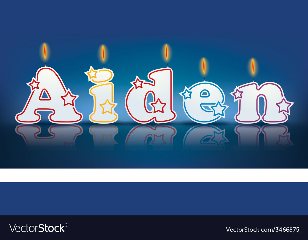 AIDEN written with burning candles vector image