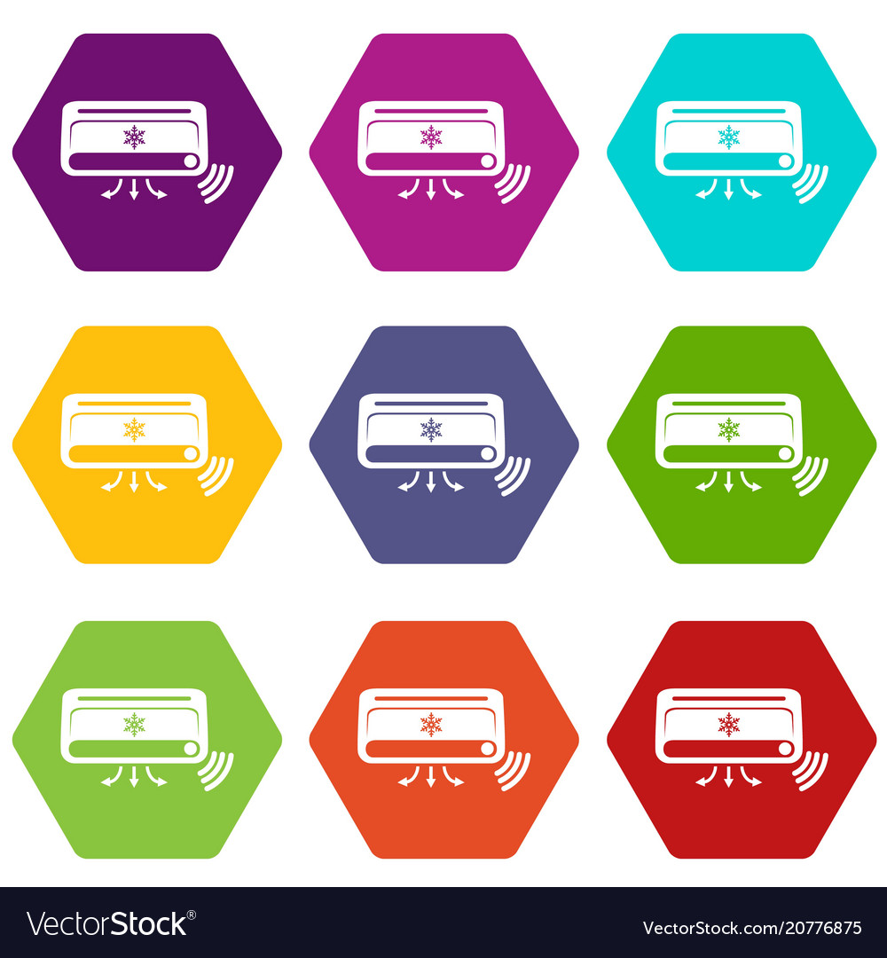 Air conditioning icons set 9