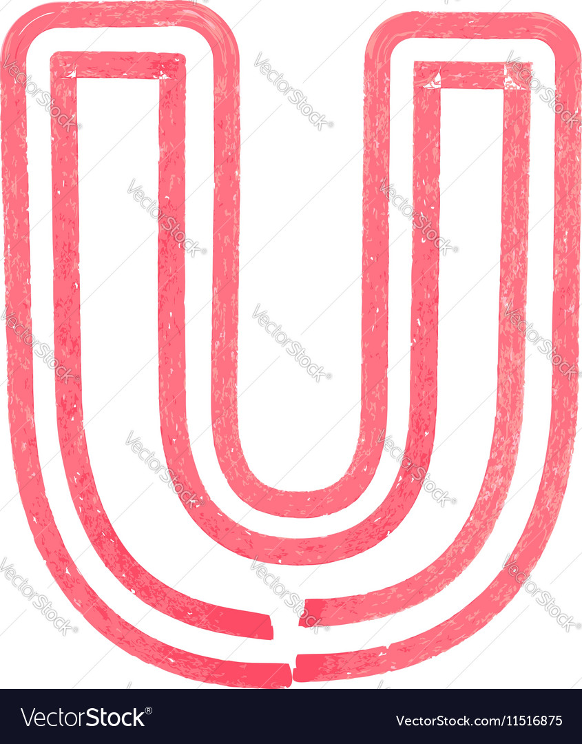 Capital letter U drawing with Red Marker