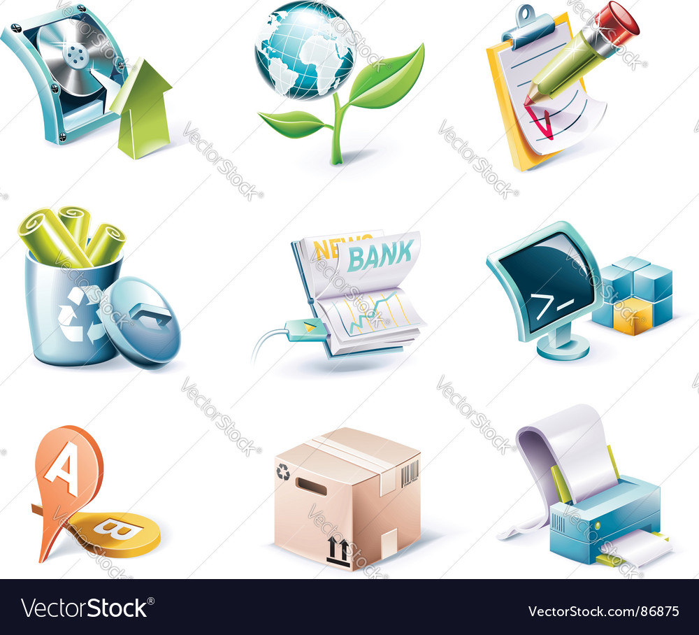 Cartoon style icon set vector image