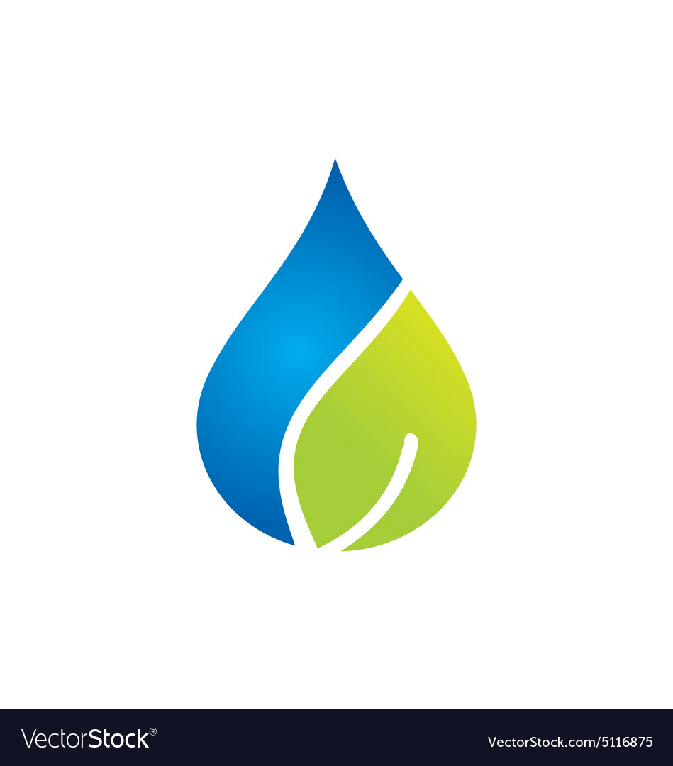 Clean water and leaf nature logo