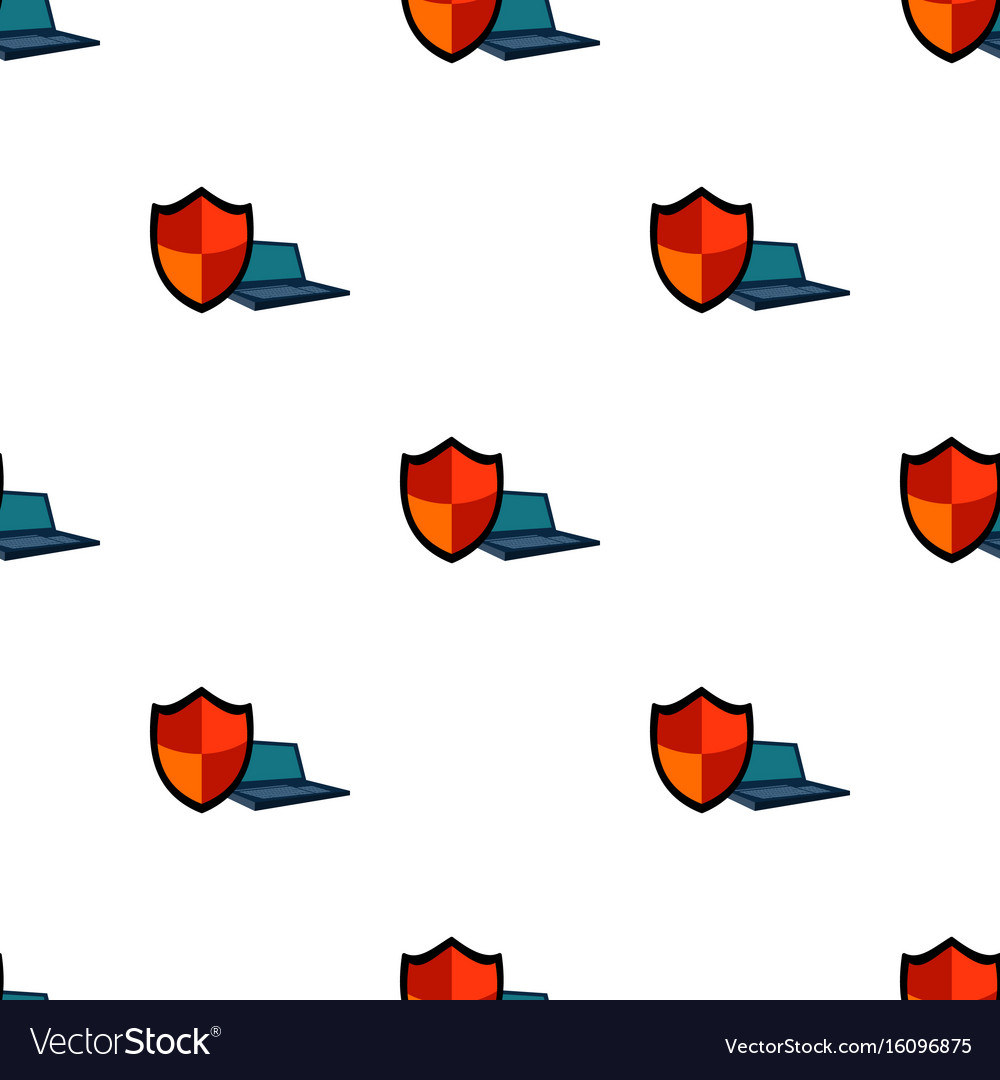 Data security of laptop icon in cartoon style