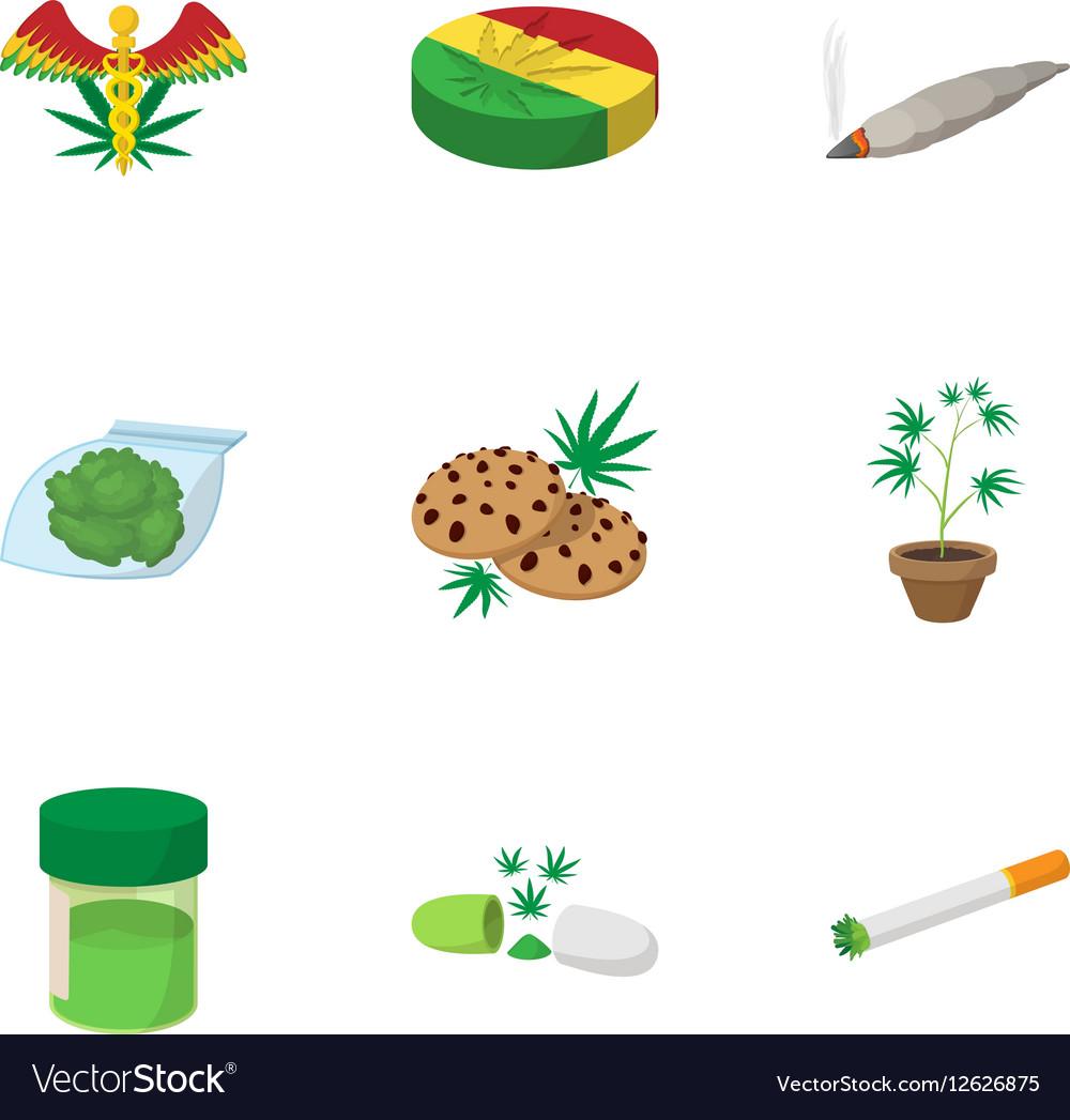 Drug icons set cartoon style