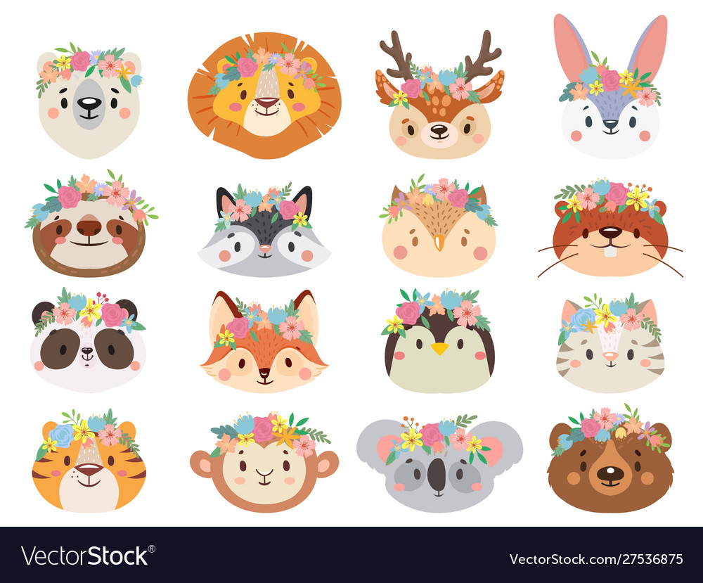 Funny animals in flower wreaths happy animal head