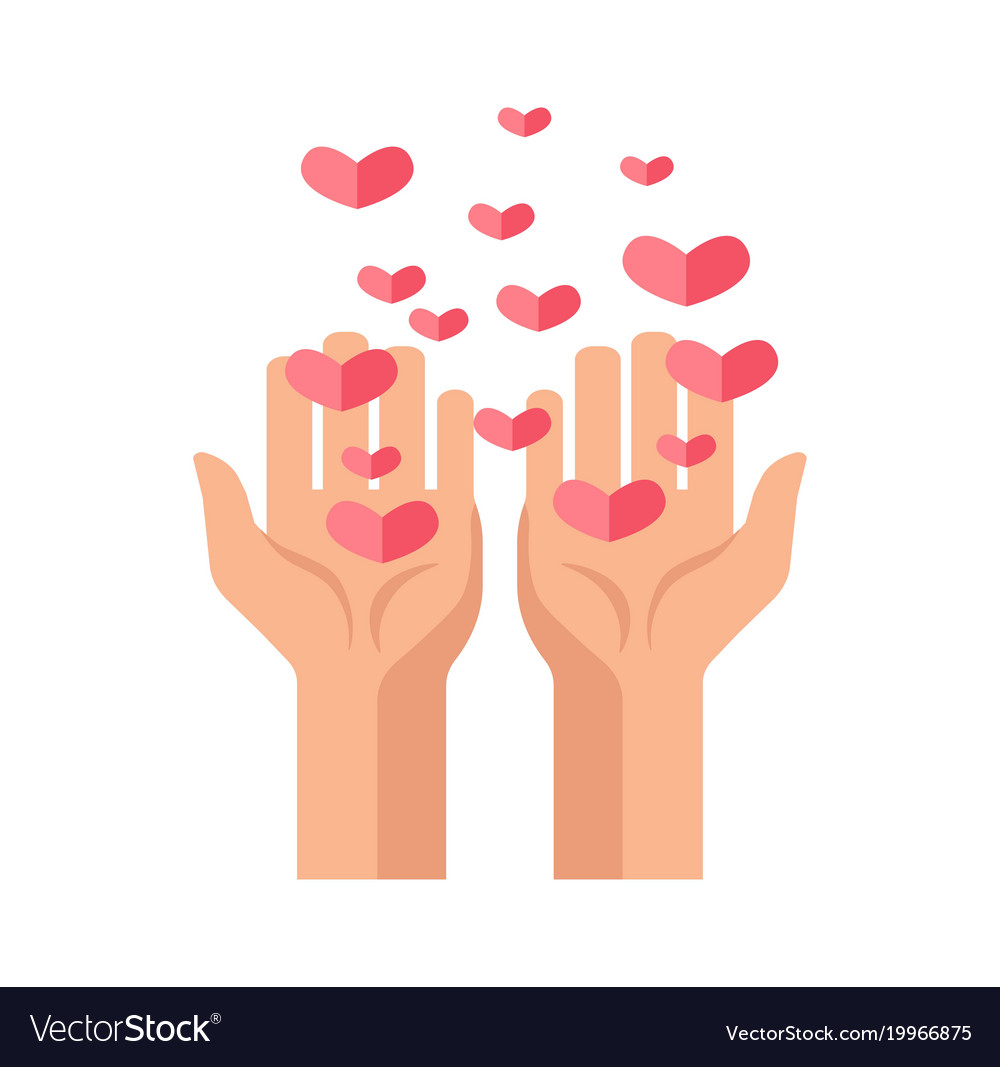 Hands and hearts icon for charity