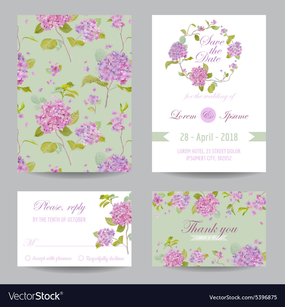 Invitation Or Greeting Card Set For Wedding Vector Image
