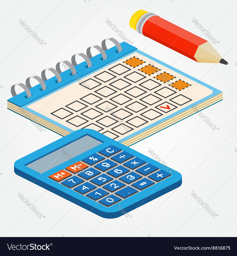 Isometric Pencill Calendar And Calculator On White