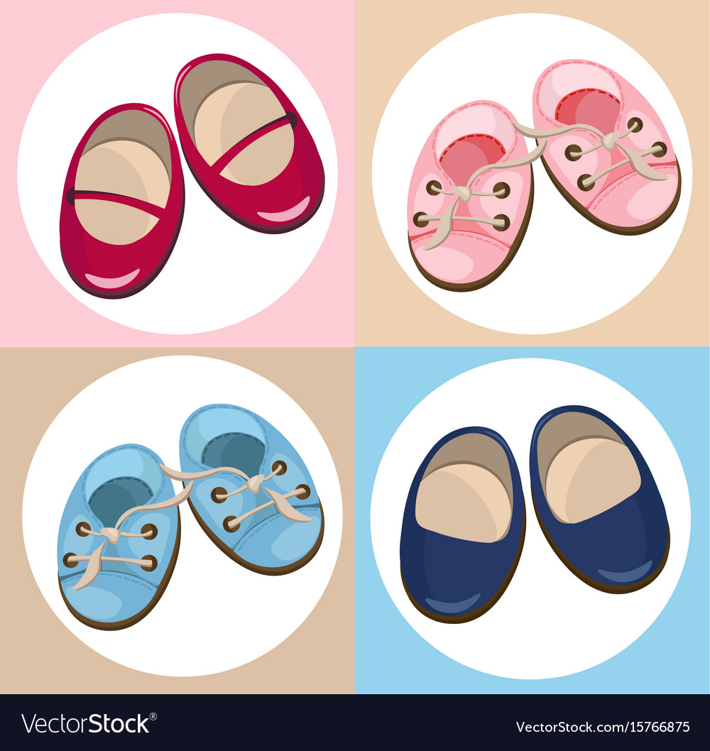 Kids shoes cute set collection colorful