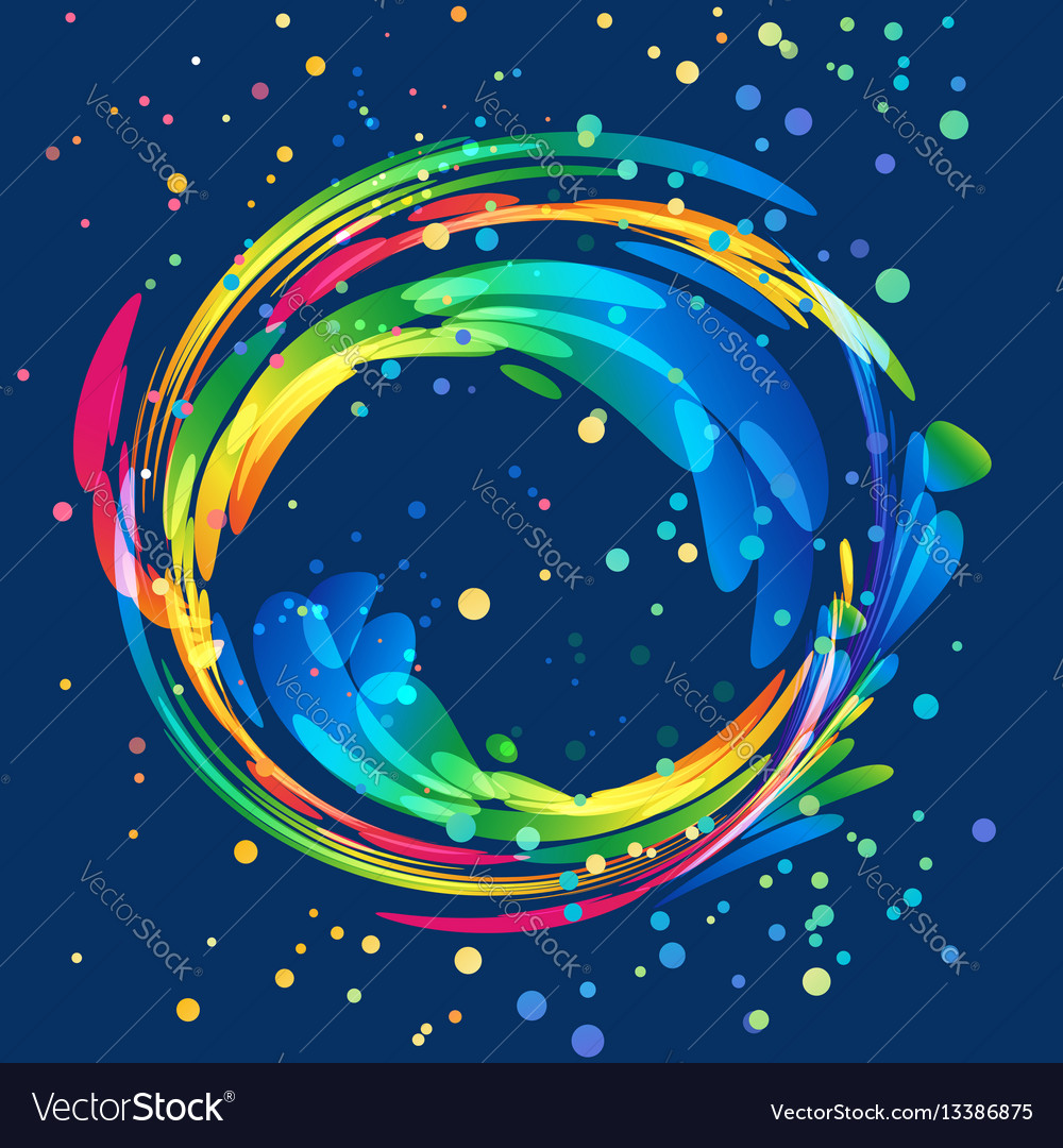 Multicolored round abstract element on dark