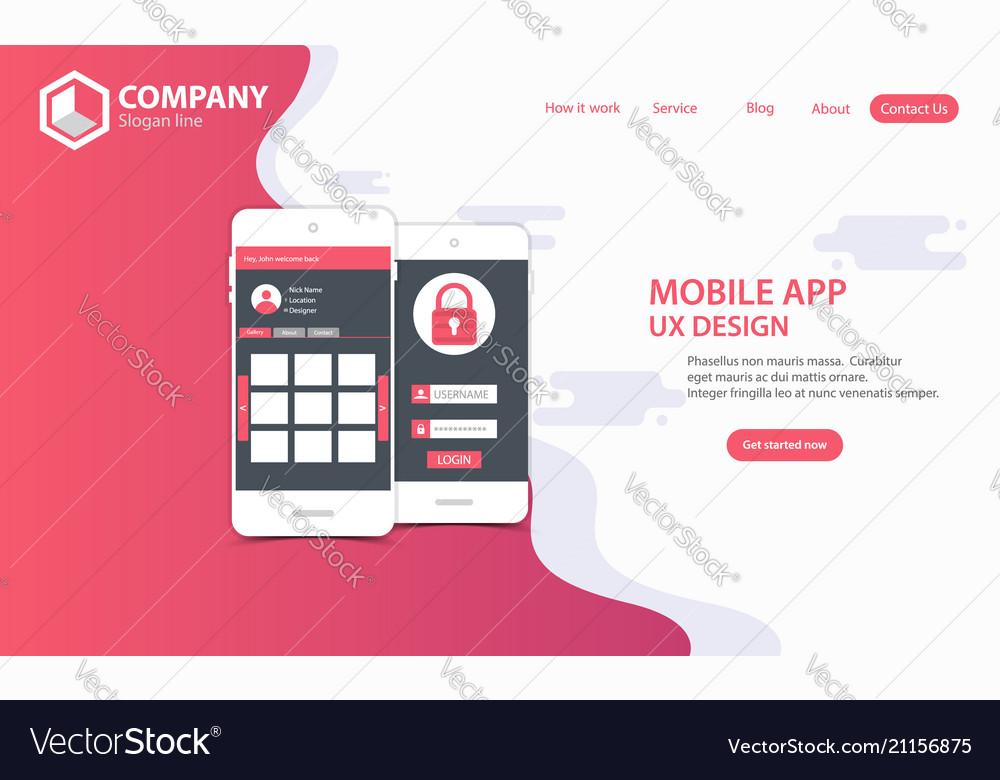 New trendy mobile app website landing page