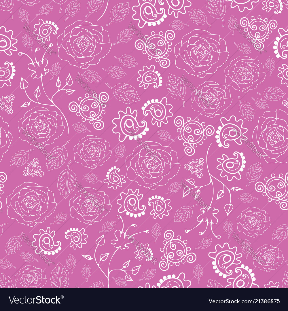 Roses and paisley-flowers in bloom seamless repeat