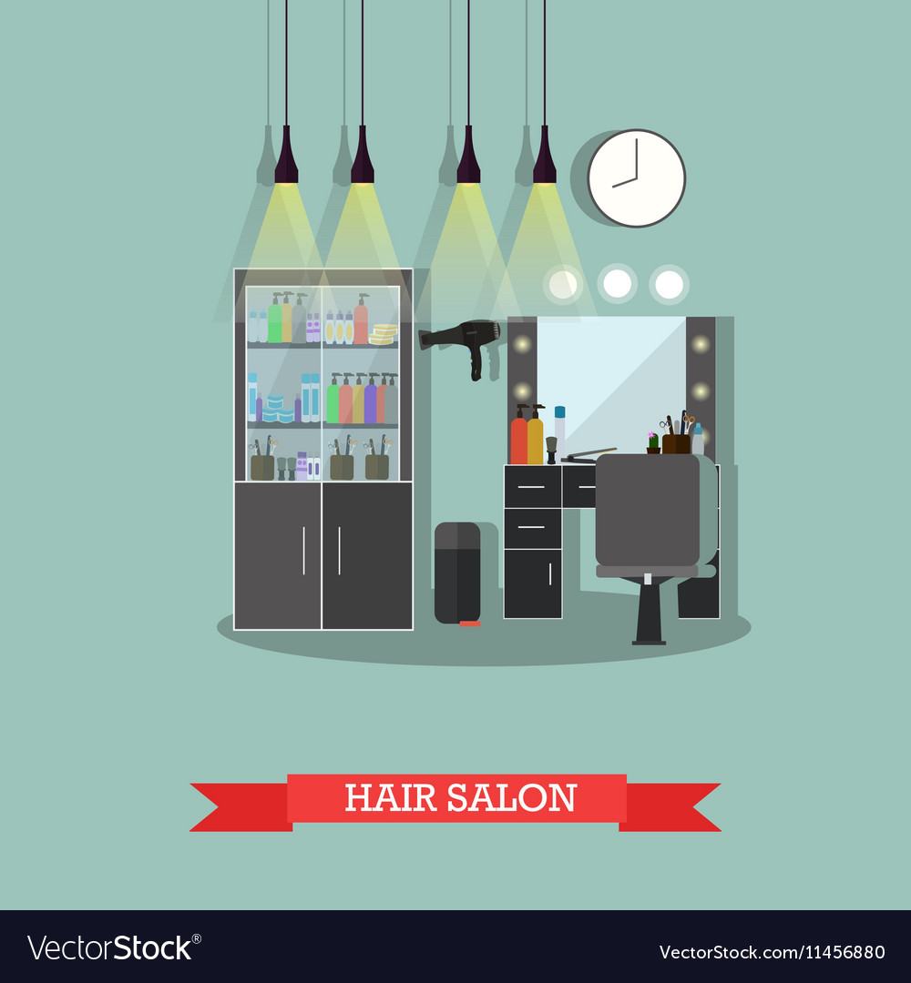 Beauty Salon Interior Concept Banners Hair Vector Image
