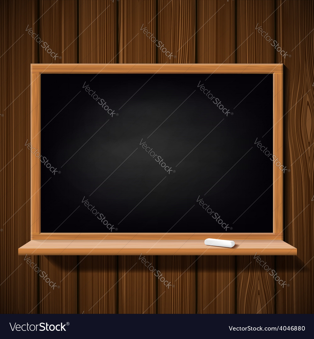 Blackboard with a chalk on a wooden wall