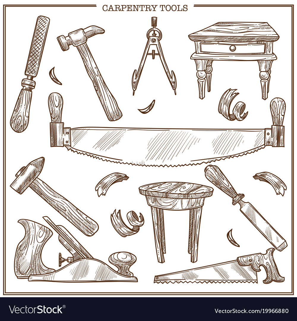 Carpentry tools sketch icons set for