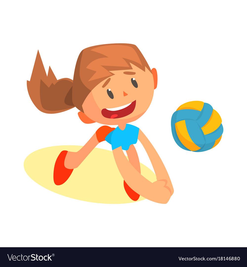 Cheerful teen girl volleyball player in uniform