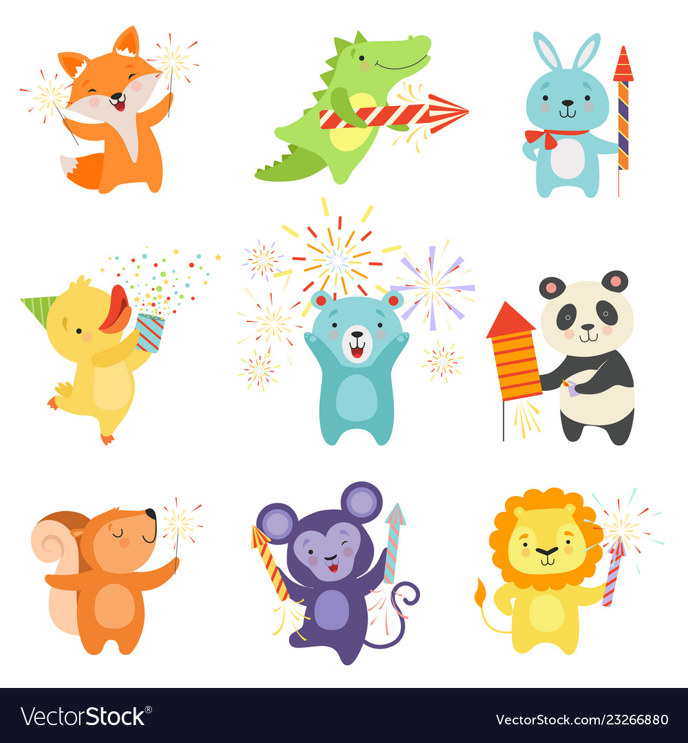 Cute animals with party poppers set lovely