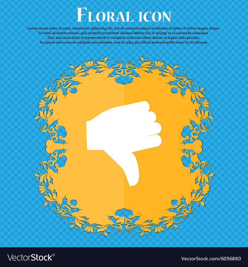 Dislike Thumb down Floral flat design on a blue