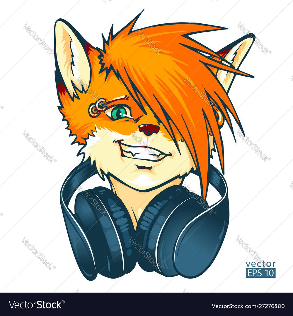Fox furry dj with headphones