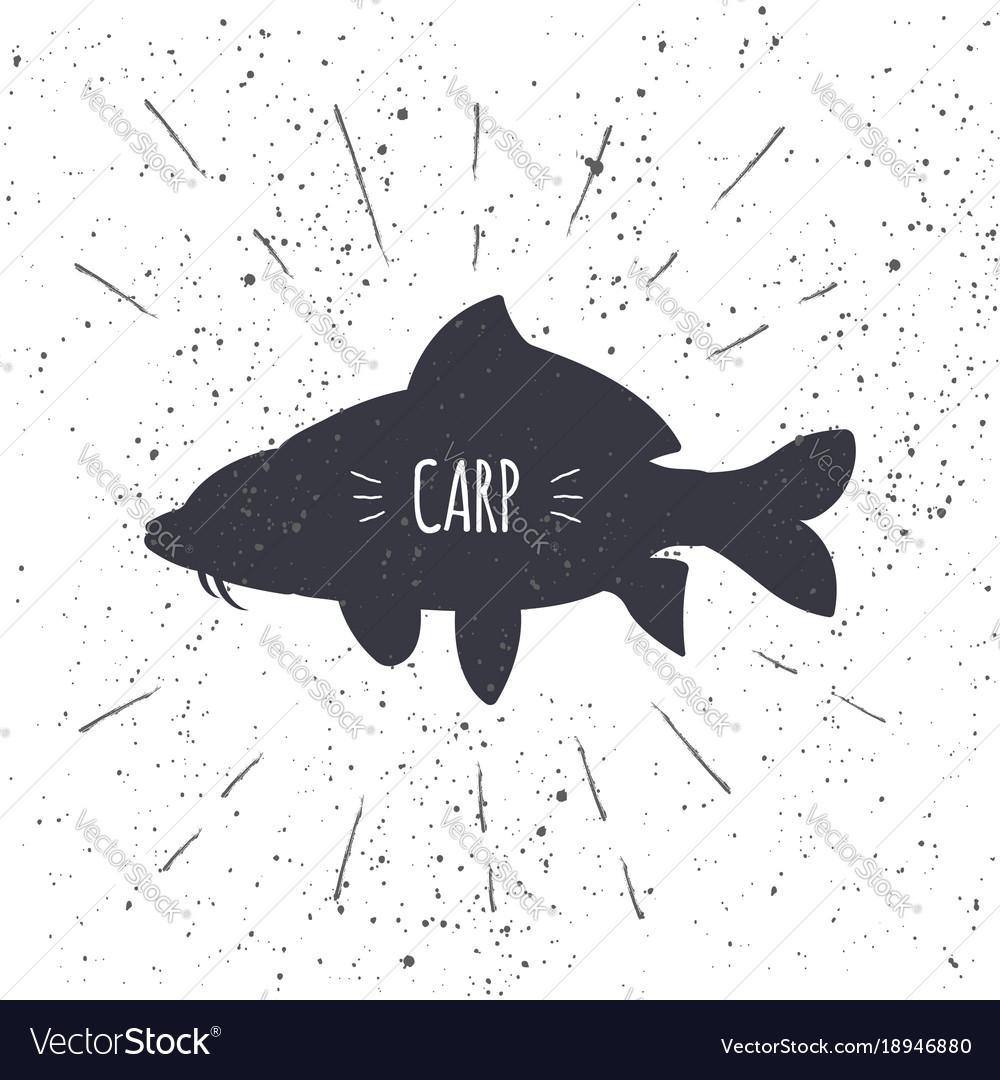 Hand drawn common carp icon fish in black and