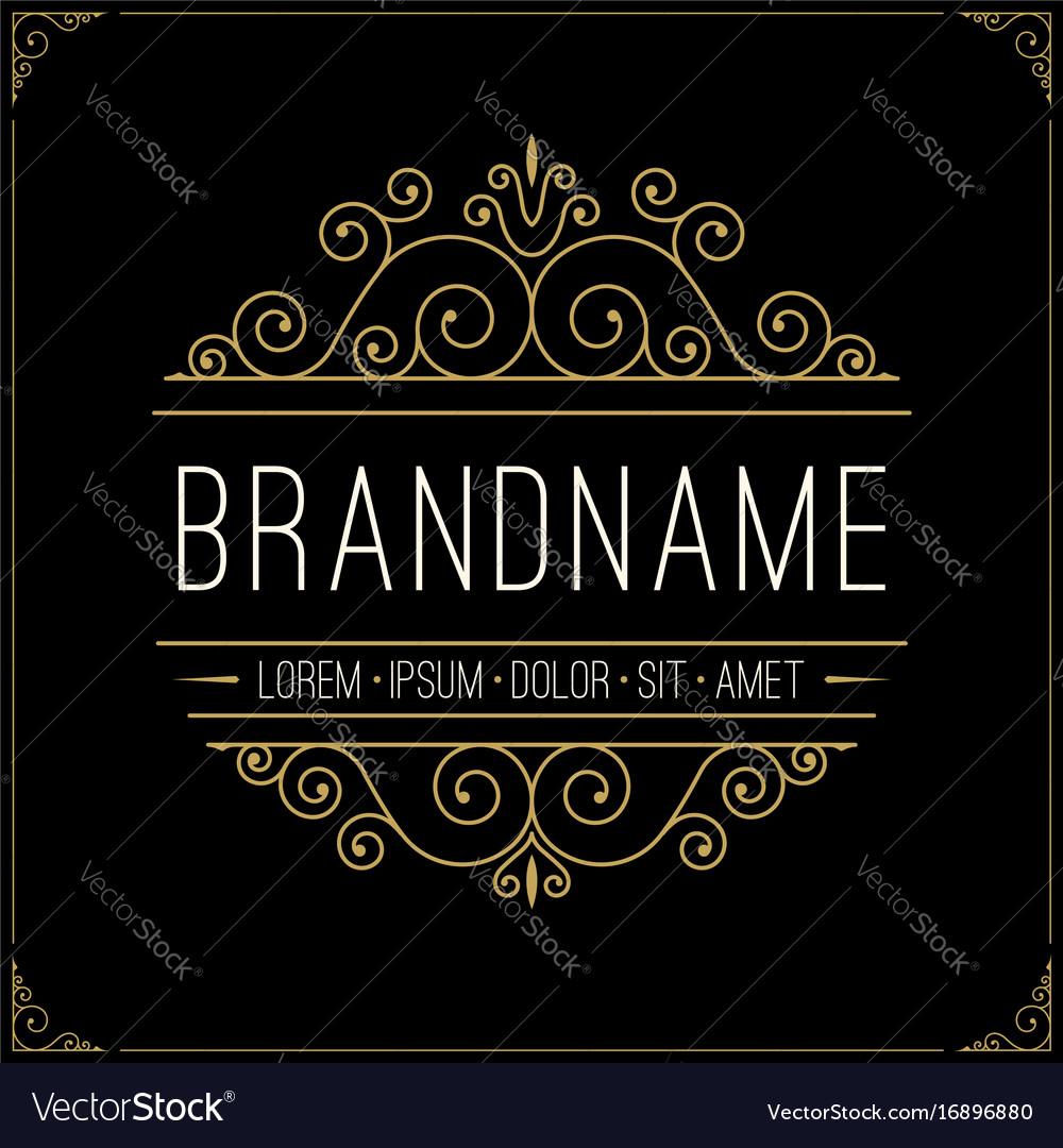 Luxury logo in vintage style line art monogram