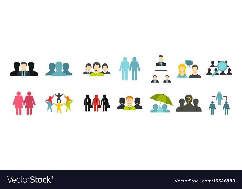 People group icon set flat style