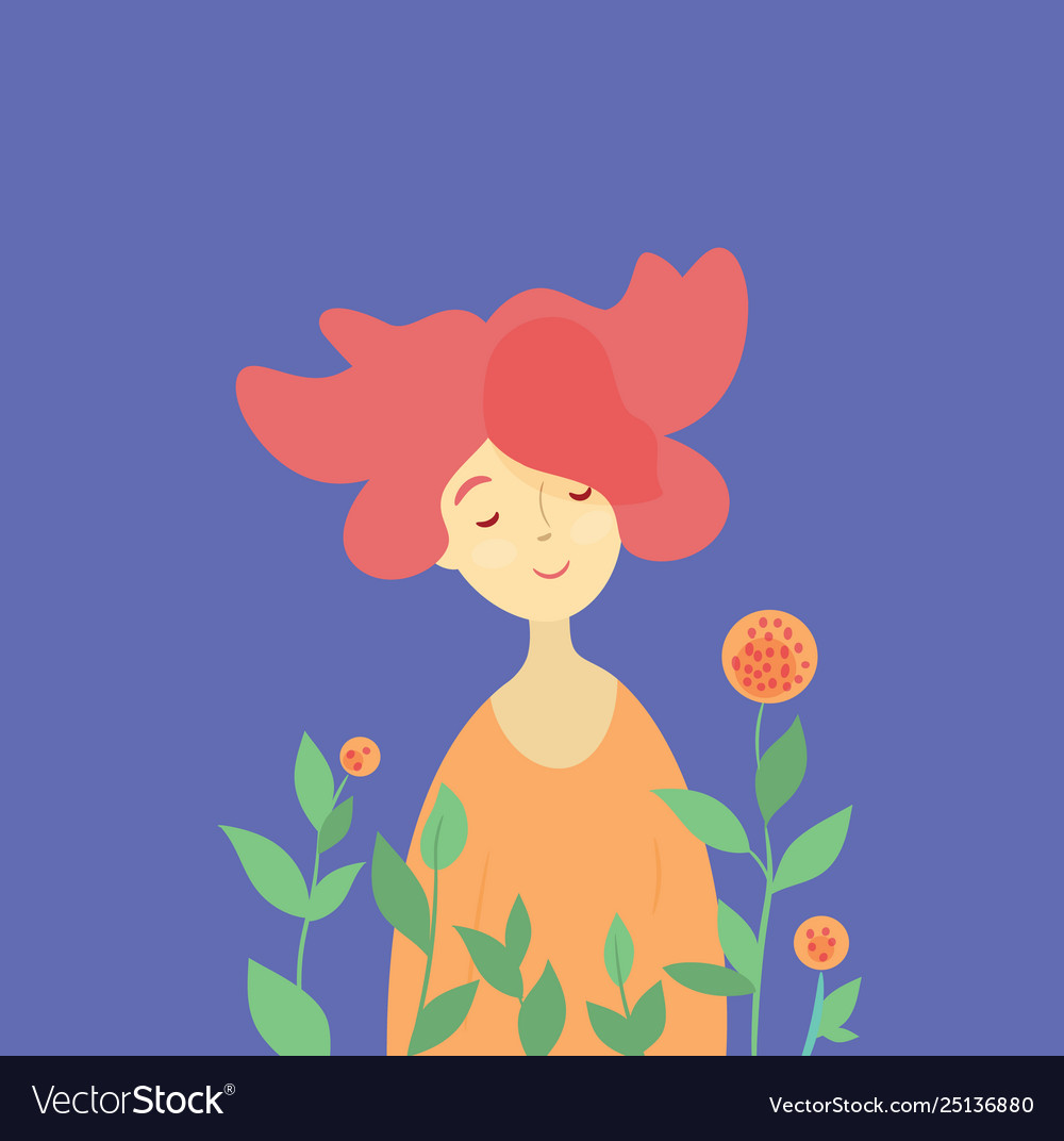 Redhead girl and spring blossom