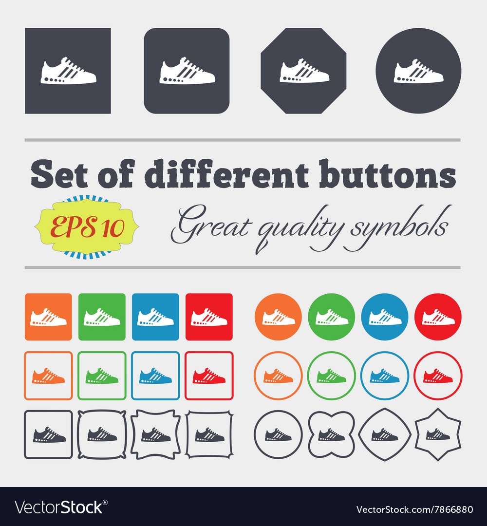 Sneakers icon sign Big set of colorful diverse