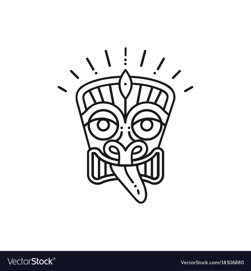 Tiki icon tiki mask head thin line art polynesian