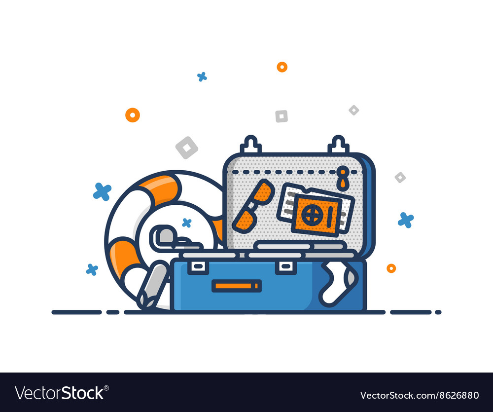 Travel concept Suitcase flat outline