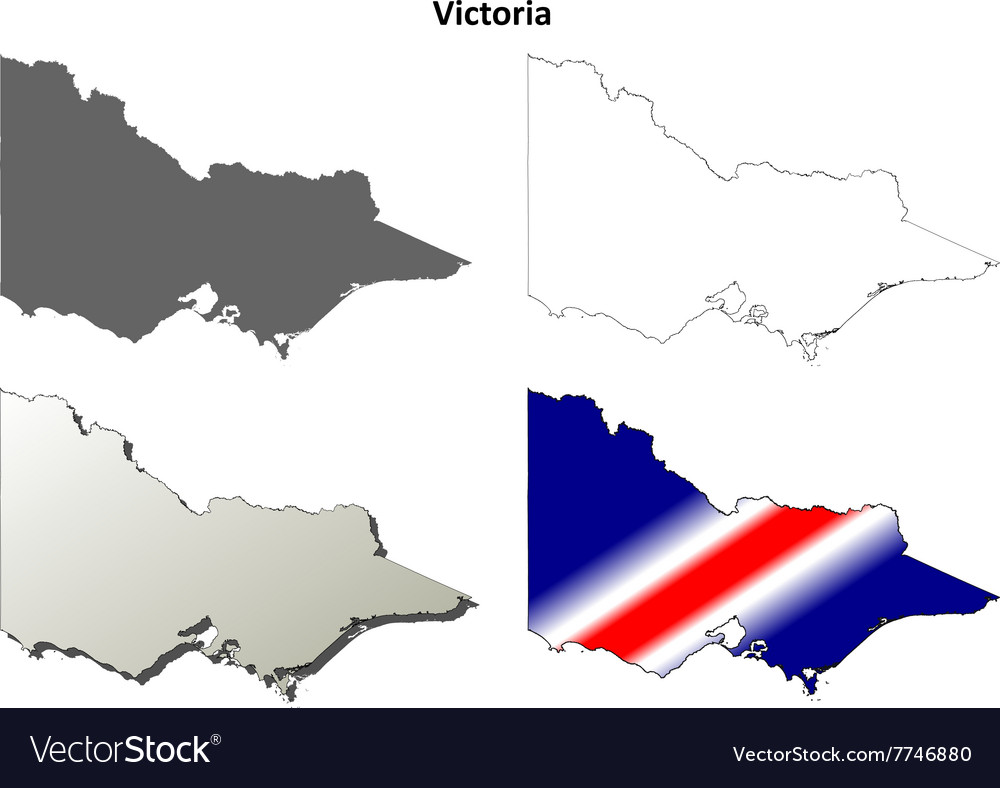 Victoria blank detailed outline map set vector image