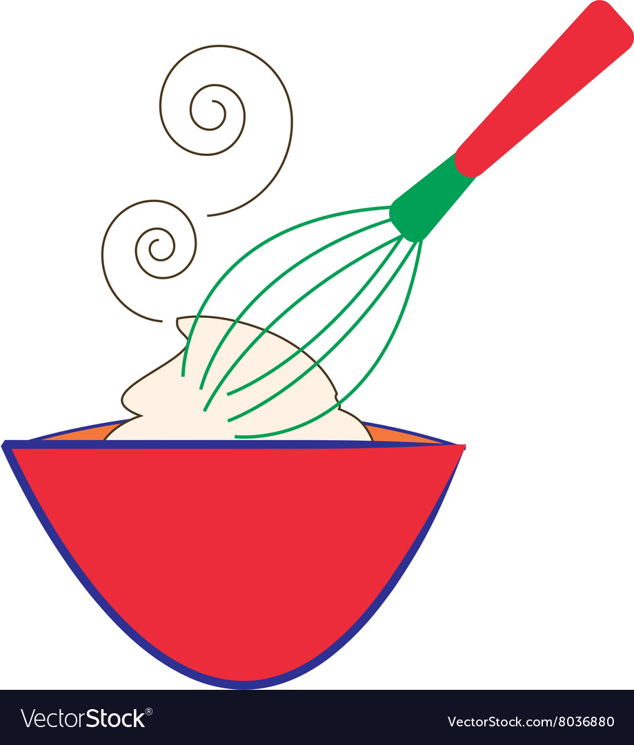 Whisk And Bowl Royalty Free Vector Image Vectorstock