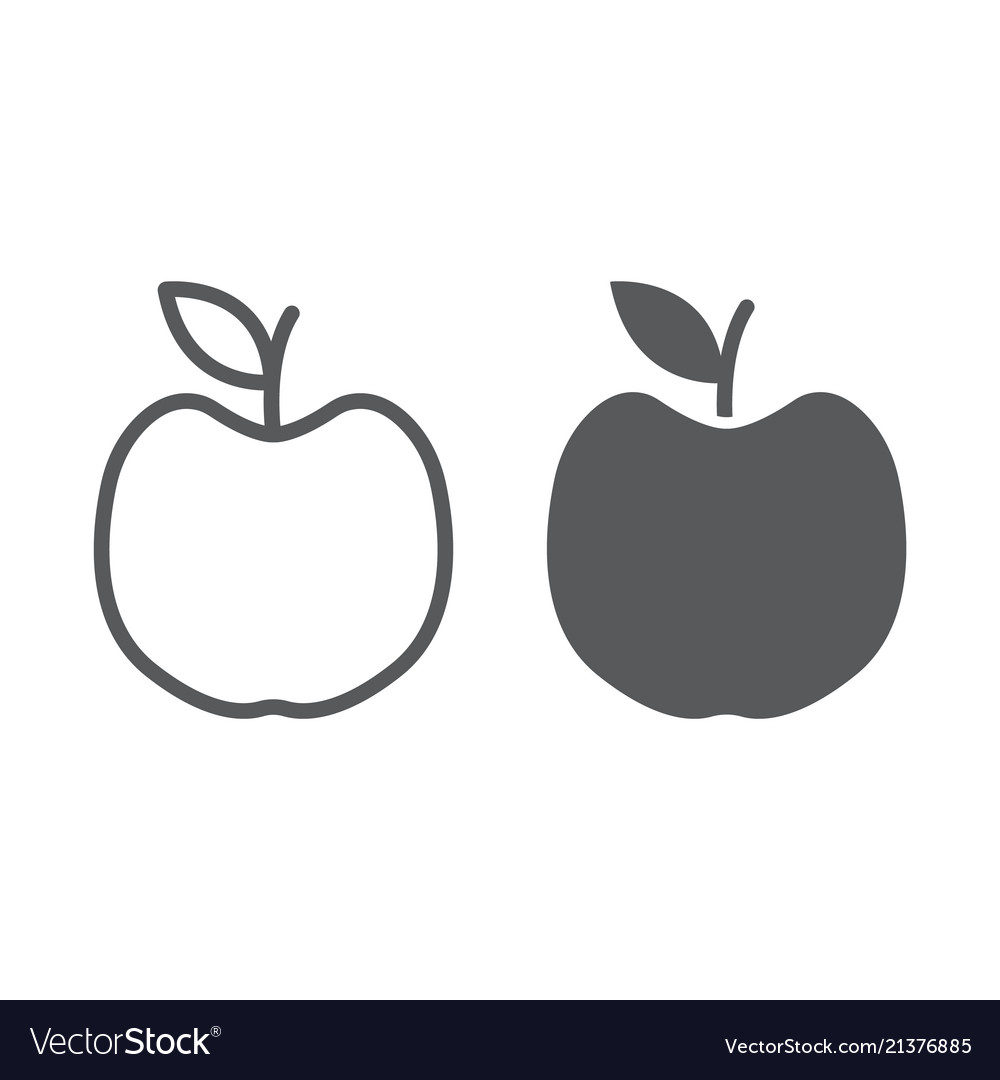 Apple line and glyph icon fruit and vitamin