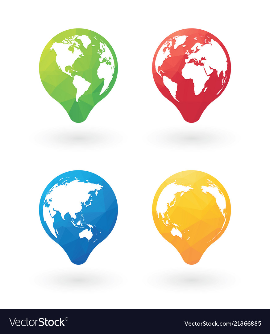 Color pins with world globe