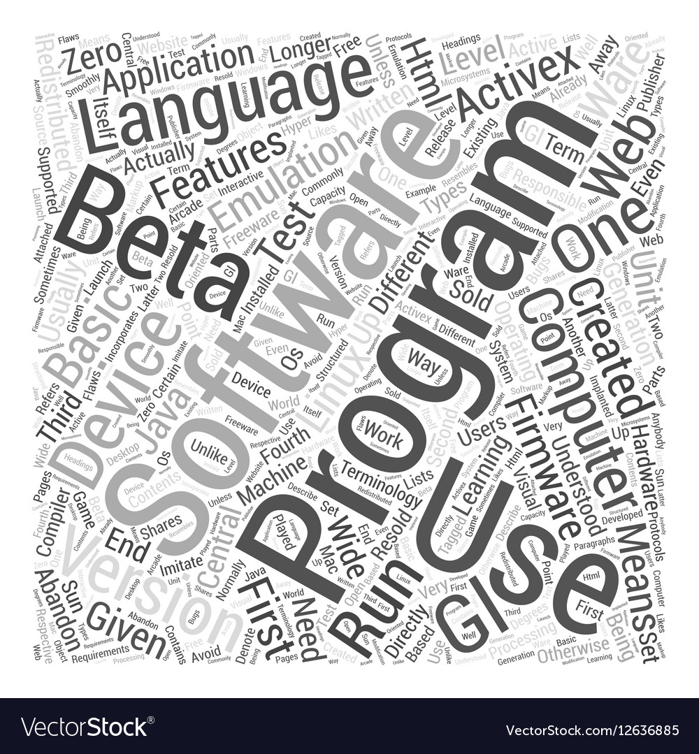 Computer programming terminology Word Cloud vector image