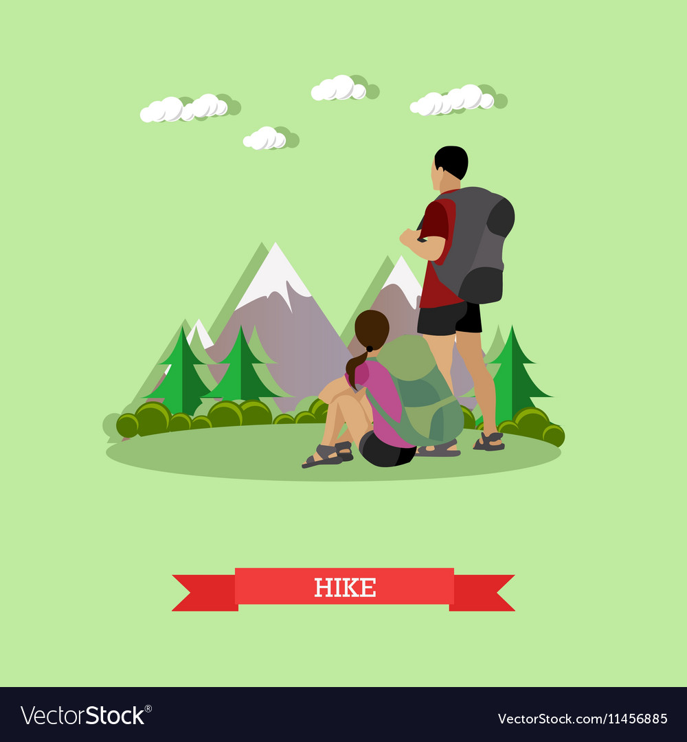 Couple hiking in mountains Outdoor hike concept