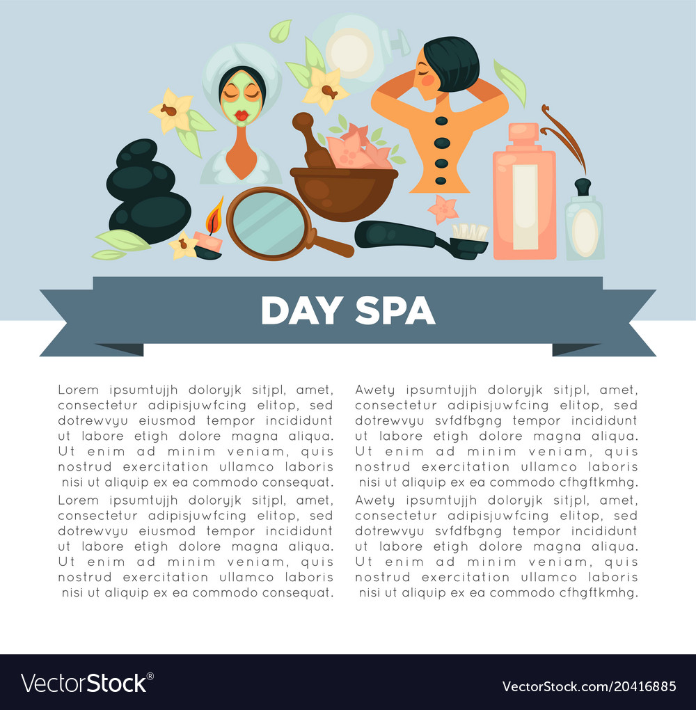 Day Spa Service Promotional Banner With Sample Vector Image
