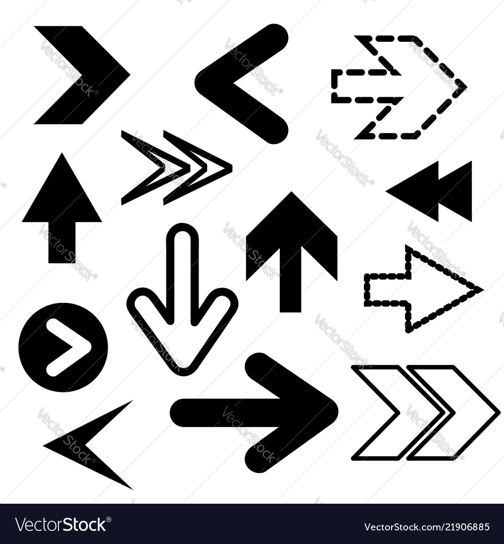 Different black arrows icons set abstract