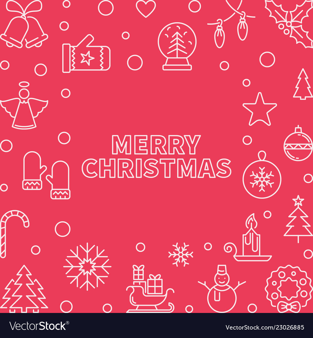 Merry christmas modern square outline frame