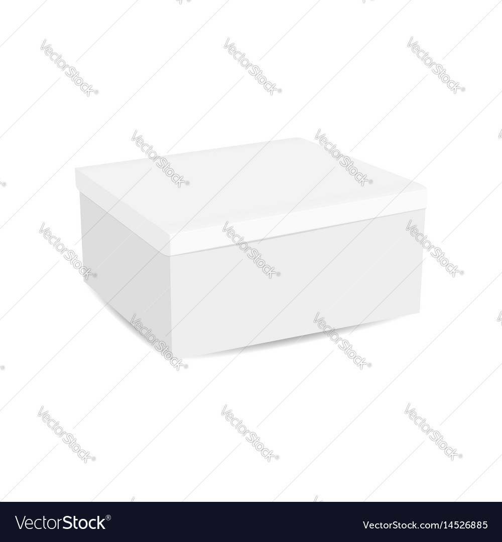 Realistic white box isolated on white background vector image
