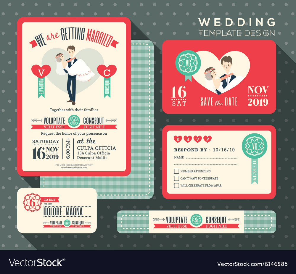 Retro cartoon wedding invitation set Template Vector Image