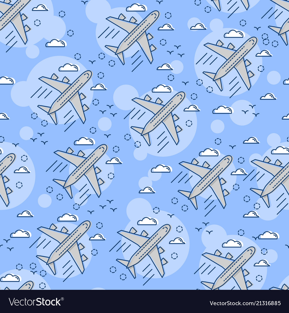 Seamless pattern airplane in sky flat and