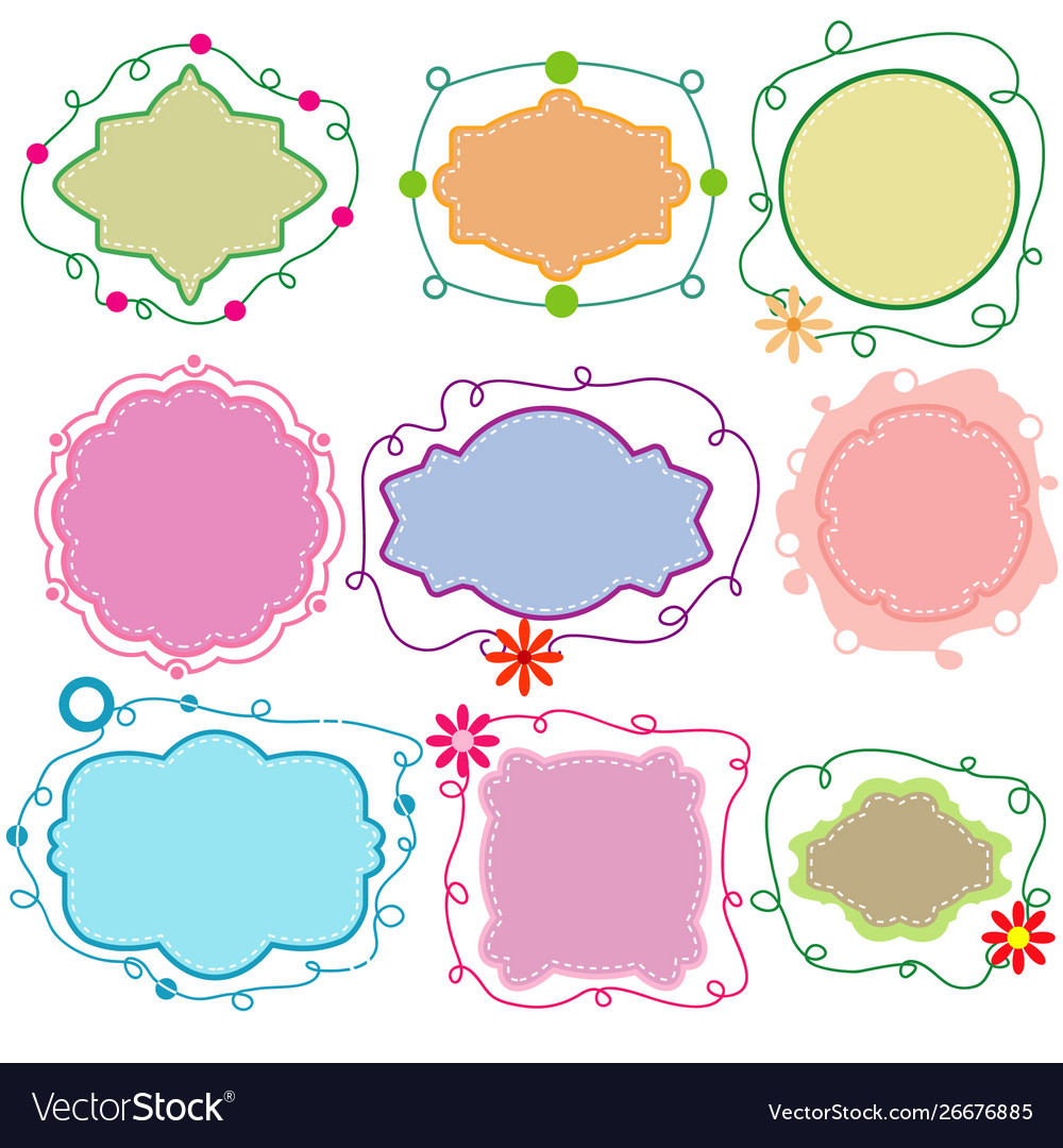 Set paper frames in different shapes