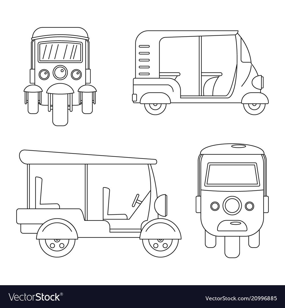 Tuk rickshaw thailand icons set outline style vector image