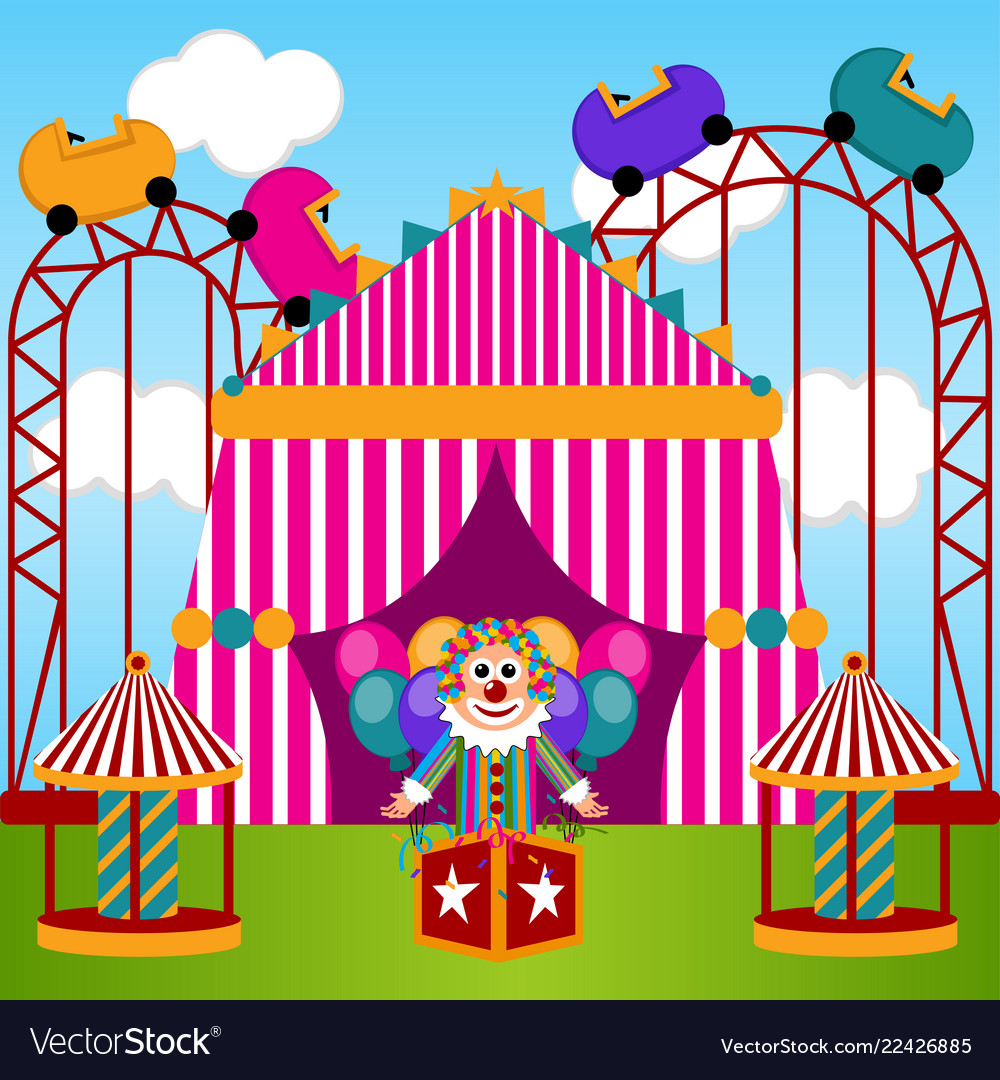 view of a carnival theme park royalty free vector image