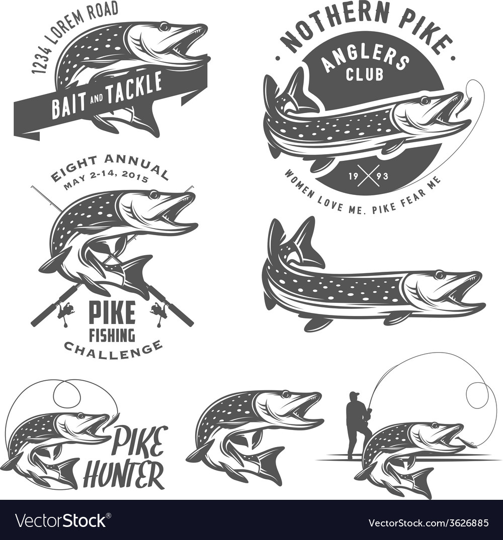 Vintage pike fishing emblems and logos